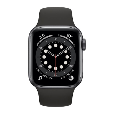Apple Watch Series 6 44mm Space Gray Aluminum Case with Black Sport Band