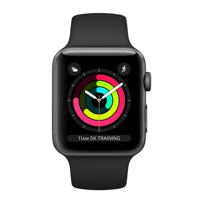 1Apple Watch Sport 38mm Space Gray Aluminum Case Black Sport Band S3